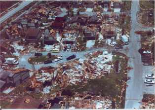 photo of devastation done by hurrican Andrew in Homestead Florida
