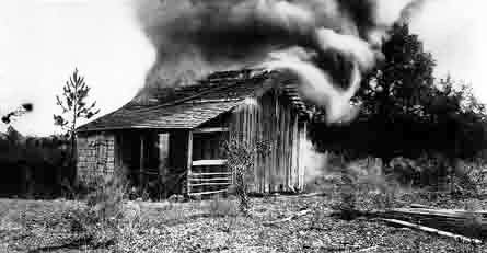 a burning cabin near Rosewood Florida in 1923