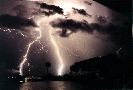 lightning strikes over the sate of Florida