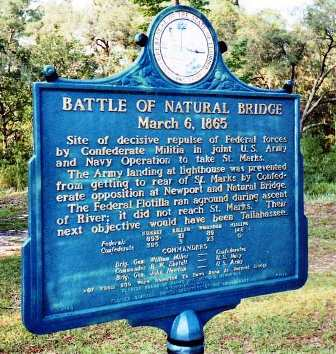 state marker on the Natural Bridge Battlefield site near Tallahassee Florida